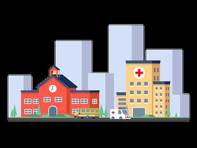 A Hospital & School hospitals illustration design adobe illustrator help fundraiser coronavirus covid19 covid city schoolhouse buildings town ambulance school bus school hospital
