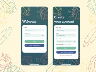 Daily UI 001: Sign Up dailyui 001 mobile login signup mobile ui sign up log in rubber leaf monstera banana leaf lineart leaf leaves illustration figma design challenge dailyui daily ui 001
