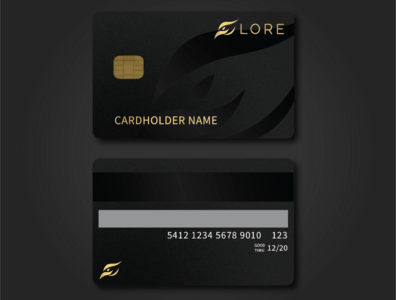 Credit Card Mock - Lore money luxury dark minimal sleek phoenix bird brand lore inspiration illustrator graphic design credit card logo challenge design