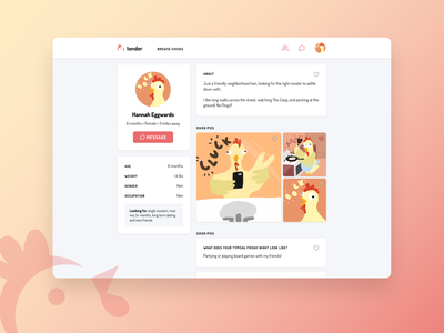 Daily UI 006: User Profile joke silly minimalism clean simple rooster hen cluck web design doodle figma challenge dating profile user profile 006 daily ui 006 daily ui dailyui tinder chicken