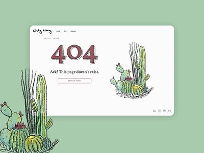 Daily UI 008: 404 Page personal brand design challenge dailyuichallenge cactuses cacti figma sketch dailyui 008 ui daily 404page page 404 illustration cactus branding portfolio personal