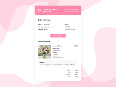 Daily UI 017: Email Receipt practical flower shop email design email marketing ecommerce figma design dailyui017 017 receipt email ui daily
