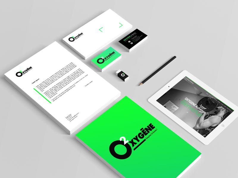 Oxygene Fitness green logo identity fitness club