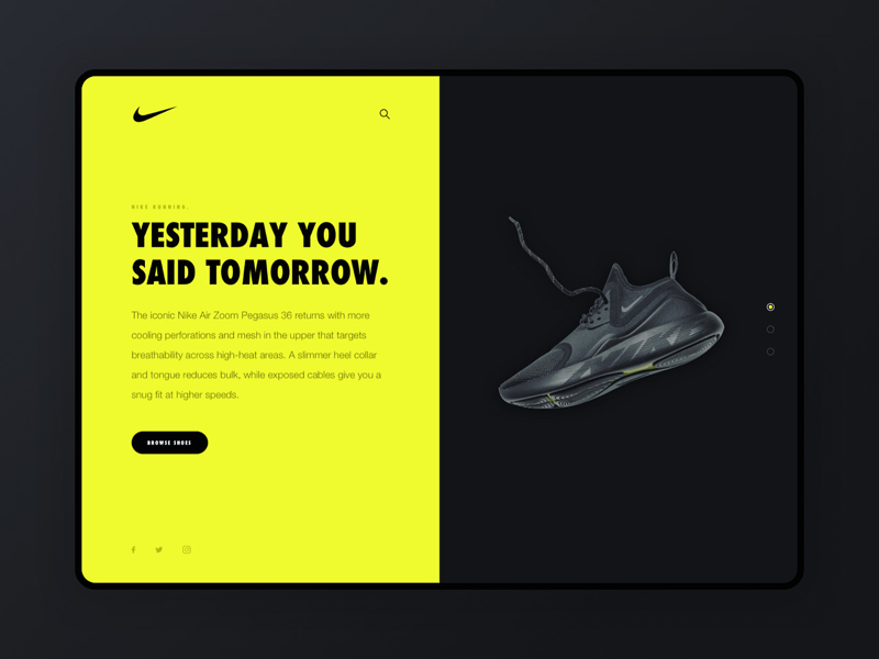 Nike split screen web design interface neon nike sneakers ui design split screen