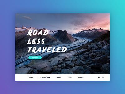 Road Less Traveled user interface web design webdesign ui design vacation nature tour iceland travel layout ui sketch