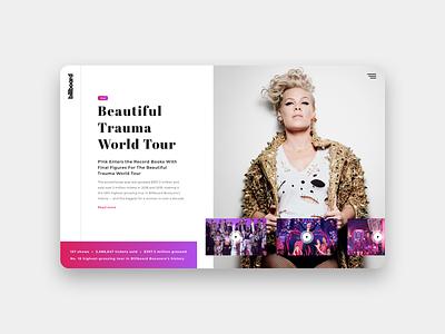 Beautiful Trauma World Tour by Pink pink ui design branding concept web design sketch layout user interface ui