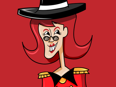 Ms. Chipotle | The Lion Tamer red background character design characterdesign character concept redhead hat lion tamer women in illustration women illustration art adobe illustrator illustrator minimal flat animation vector design illustration