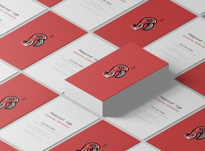Business Card Mockup - FlamingoSquared print lato shadows into light flamingo red brand design adobe illustrator vector brand identity branding logo design branding design business cards business card business card design