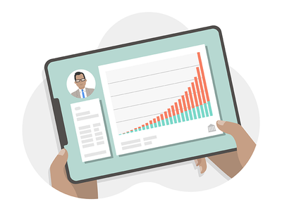 Account Management account management finacial tablet ed tech product design illustration
