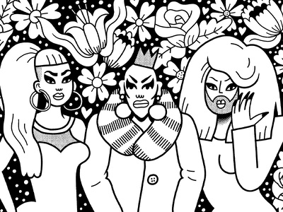 Queens queen yas illustration book coloring lgbtqia drag