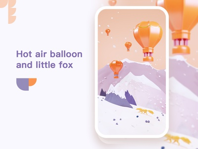 Hot air balloon and little fox in the mountains app typography ux branding sketch 情感 space 雪山 simple environment ui design illustration
