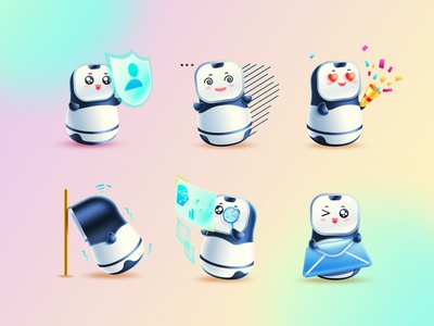 IP-xiaowei robot 应用场景 图形 人工智能 animation branding illustration web app icon ux design