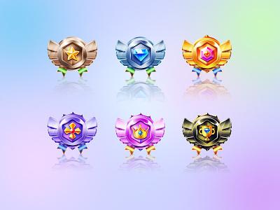 Metal quality 6 level Badge ux vector illustration design ui logo app branding icon