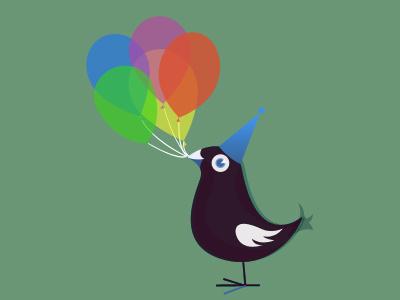 Bird and balloons illustration kids birthday vector