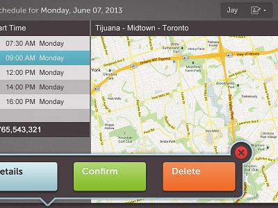 Scheduling interface ui ux design gps scheduling menu map submenu touchscreen