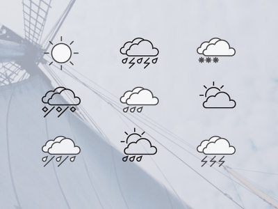 Weather Icons 2.0 line outline icons weather unused flat psd freebie