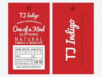 TJ Indigo Clothing Tags business card type lettering typography branding clothing label tag clothing tag hipster shop oneofakindclothing