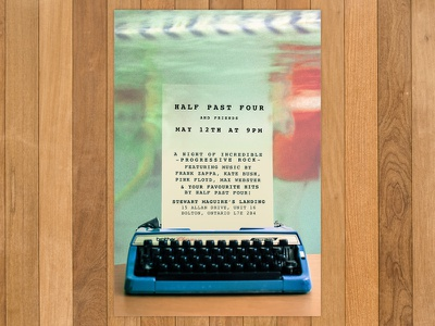 Poster for Half Past Four  courier hipster prog type writer vintage half past four band poster