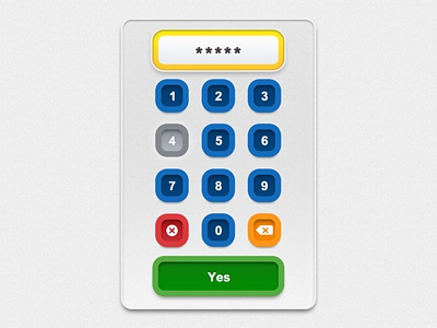 Primary Colors Keypad, Touchscreen UI primary colors keypad ui buttons graphic design debut first dribbble