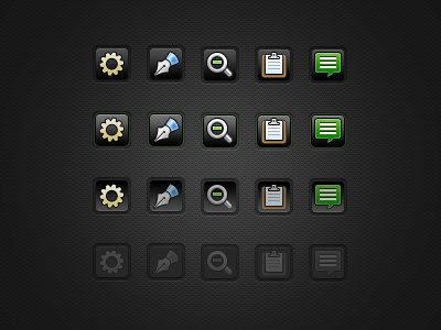 Dark UI Buttons With States buttons ui hover pressed disabled dark gray
