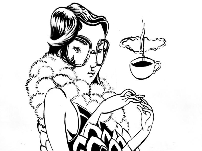 Meditate. character design ink  brush twinbull illustration