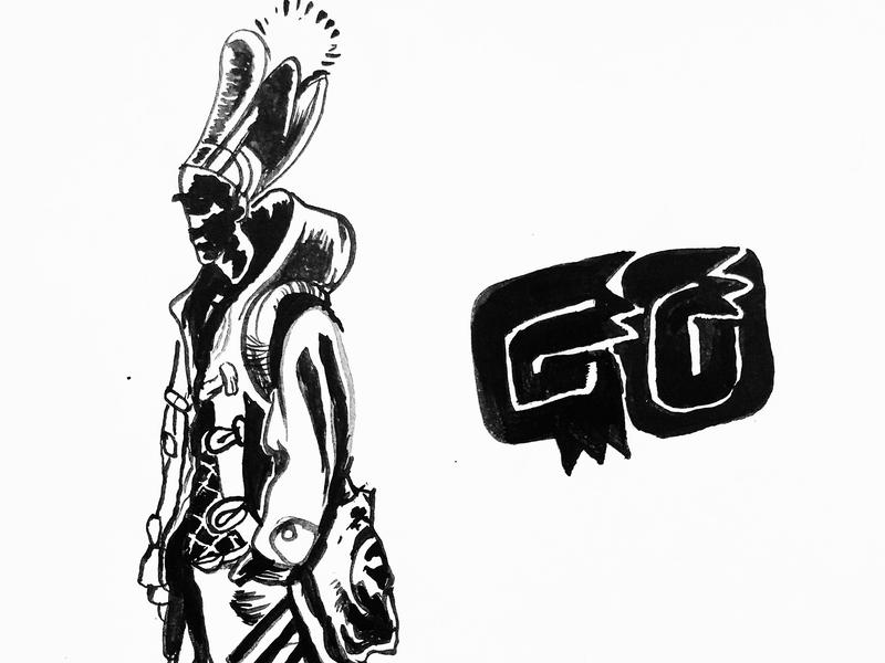 Go. twinbull character design ink  brush illustration