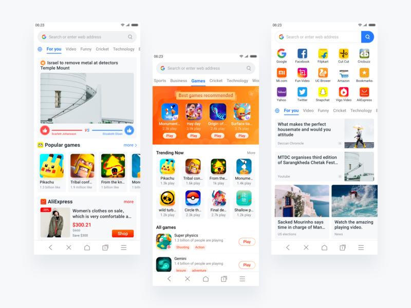 Browser app card games browser clean kit ios app ui