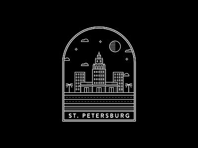 St. Petersburg, Florida blackandwhite badge st petersburg logo graphicdesign design illustration linework