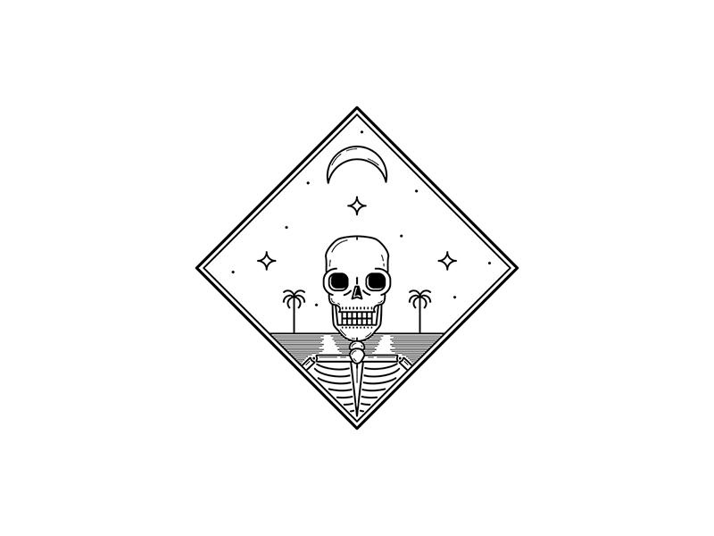 Dead Summer illustrator beach summer linework design illustration skeleton skull