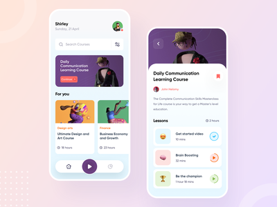 Online Course App Design iosapp app design ux ui mobile screens ios illustration graphics graph education design app course button android