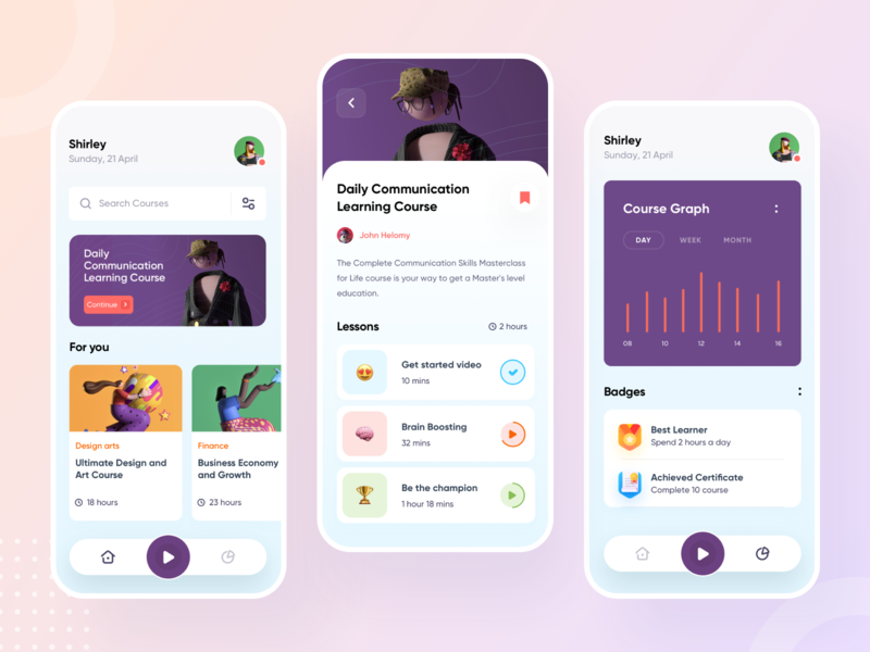 Online Course App dashboard android ios appdesign mobile app mobile ui design clean ux ui app learning course