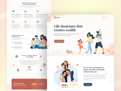 Life Insurance landing page ux ui web design policy health invest investment security wealth insurance pensions webapp website landing page solution insurtech risk life insurance