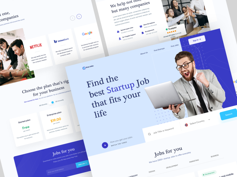 Find Job Landing Page Design company webdesign landing web ui ux find job find a job in dubai business design jobs for you life employee search startup job find