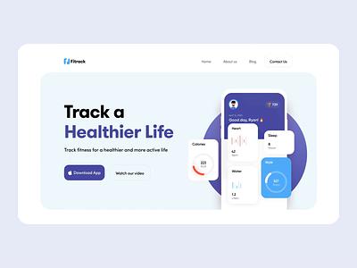 Health Tracker App Landing Interaction website concept designer userinterface ui design landing page website tracker app ux web 2020 trend app ui health app tracker health
