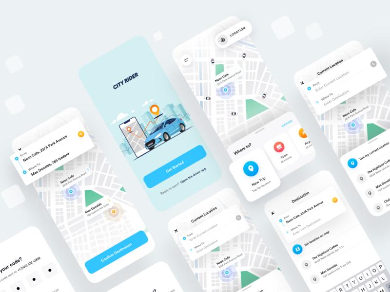 Ride Sharing App Design mobile design ux design user interface vector interface minimal clean design ios mobile app booking taxi rideshare ux ui mobile app