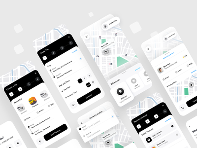 Ride Sharing App Design 2020 design dribbble location ridesharing designer product minimal vector app ux booking taxi sharing ride ios mobile ui trend 2020