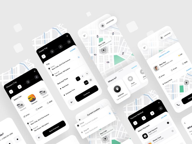 Ride Sharing App Design 2020 design dribbble location ridesharing designer product minimal vector app ux booking taxi sharing ride ios mobile ui trend 2020