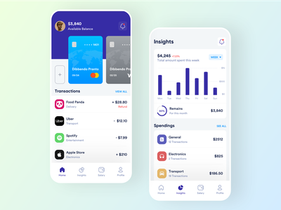 DigiPay Fintech Mobile App Design mobile finance app balance card development mobile app design transaction transfer money amount insight product transactions b2b financial uiux ui mobile app fintech