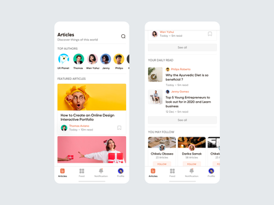 PapperDeck Article App Design app design android ios real app minimal 2021 news app journal featured ux ui product app