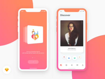 """Dating App - """" Onboarding & Discover"""" Screen"""