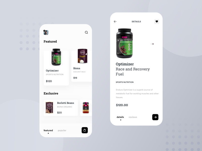 Home and Product Detail ux ui store shop product minimal ios interaction ecommerce concept app animation add to cart