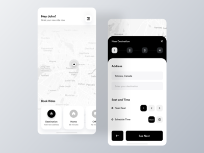 Minimal Ride Share App Design