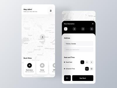 Minimal Ride Share App Design elegent black uiux mobile ui app clean taxi app ios rent cab rideshare ride taxi minimal uber
