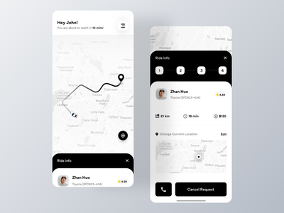 Ride Share App Design elegent design ui taxi app ride share taxi uber