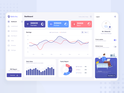 Sales Analytic Dashboard ux ui stats statistics profile platform minimal financial management landing interface illustraion sales design data dashboard chart app account 2019 trend