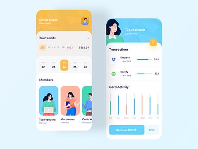Split Payment App walletapp ux ui profile mobile app inspiration illustration iconspace icon flat app design cards banking avatars app trend 2019