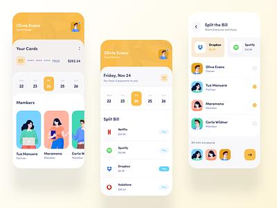 Split Payment App ux uxdesigner uiux uidesigner uidesign ui trendy trend product designer product design popular minmal design clean design application appdesign 2019 trend
