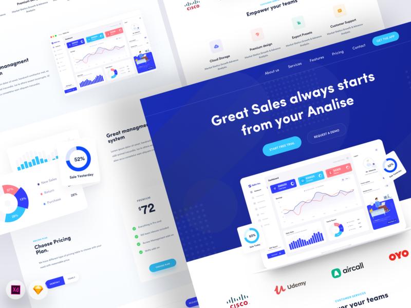Sales Saas Landing best design best webapp web landing panel dashboad admin saas ux ui analytic sales clean website 2020 trend