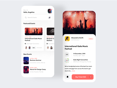Event App Design ux ui ticket booking tickets trend 2020 trending map ticket event illustration graphics favourite event app date cards calender booking
