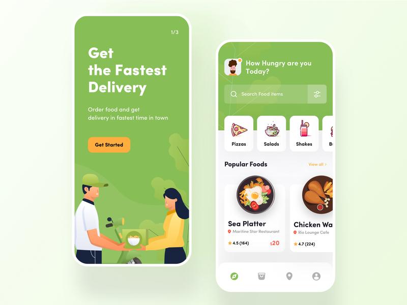 Food App- Onboarding & Discover illustraion food and drink food app fast delivery designer ui ux best ui designer clean design mobile app order food shop restaurant delivery food trend 2020